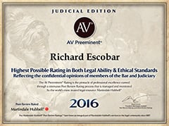 Judicial Education | AV | AV Preeminent | Richard Escobar | 2016
