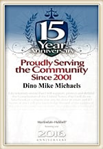 15 | YEAR | Anniversary | Proudly Serving | the Community | Since 2001 | Dino Mike Michaels